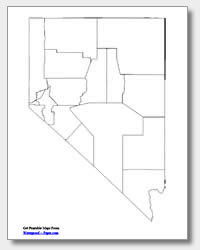 printable Nevada county map unlabeled