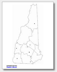 printable New Hampshire major cities map unlabeled