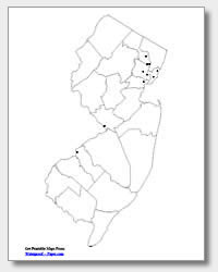 printable New Jersey major cities map unlabeled