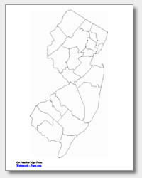 Printable New Jersey Maps State Outline County Cities - County map of new jersey