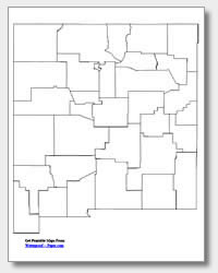 printable New Mexico county map unlabeled