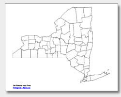 printable New York county map unlabeled
