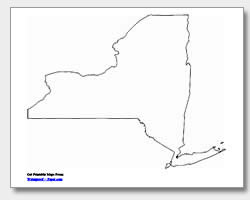 printable New York outline map