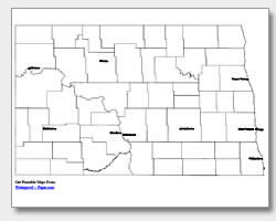 printable North Dakota major cities map labeled