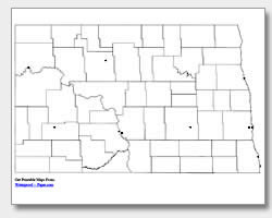 printable North Dakota major cities map unlabeled