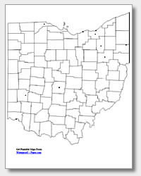 printable Ohio major cities map unlabeled