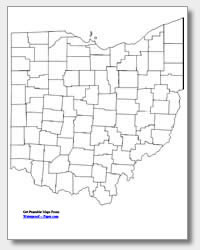 printable Ohio county map unlabeled