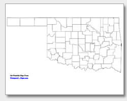 Printable Oklahoma Maps State Outline County Cities - Counties of oklahoma map