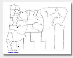 printable Oregon major cities map unlabeled