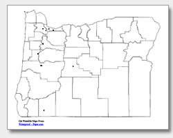 printable Oregon major cities map unlabeled
