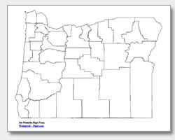 printable Oregon county map unlabeled