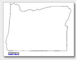 printable Oregon outline map