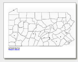 printable Pennsylvania major cities map unlabeled