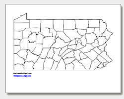 printable Pennsylvania county map unlabeled