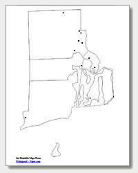 printable Rhode Island major cities map unlabeled