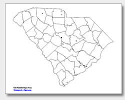printable South Carolina major cities map unlabeled