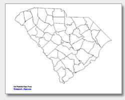 printable South Carolina county map unlabeled