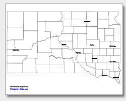 printable South Dakota major cities map labeled