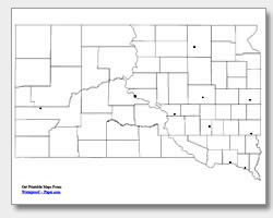 printable South Dakota major cities map unlabeled