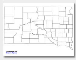 printable South Dakota county map unlabeled