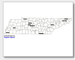 printable Tennessee major cities map labeled
