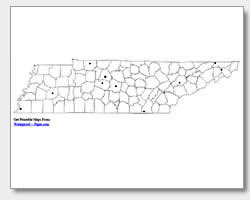 printable Tennessee major cities map unlabeled