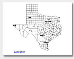 printable Texas major cities map labeled