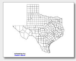 printable Texas major cities map unlabeled