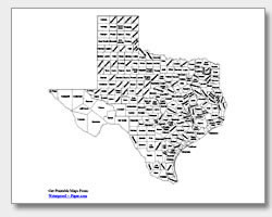 printable Texas county map labeled
