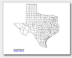 printable Texas county map unlabeled