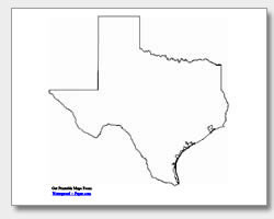 printable Texas outline map