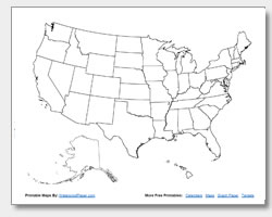 Printable United States Maps Outline And Capitals - Unlabeled us map