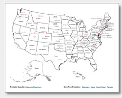 Free Printable Map of the United States with State and Capital Names