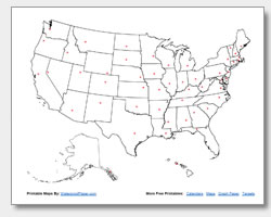 Printable United States Maps Outline And Capitals - Us states major cities map