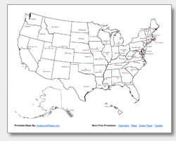 image relating to Printable Us Map With Capitals called Printable United Claims Maps Define and Capitals