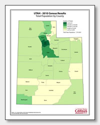 printable Utah population by county map