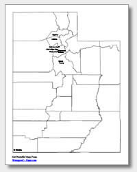 Printable Utah Maps State Outline County Cities
