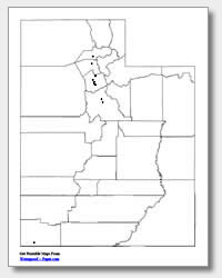 printable Utah major cities map unlabeled