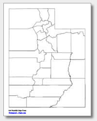 printable Utah county map unlabeled