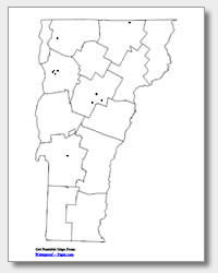printable Vermont major cities map unlabeled