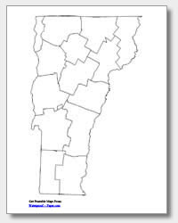 printable Vermont county map unlabeled