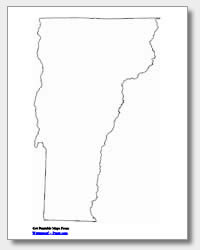 printable Vermont outline map