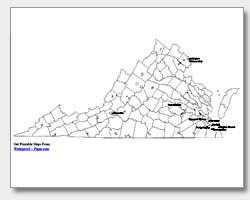 printable Virginia major cities map labeled
