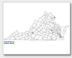 printable Virginia major cities map unlabeled