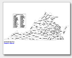 Printable Virginia Maps State Outline County Cities - State map of virginia