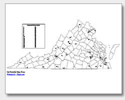 printable Virginia county map unlabeled