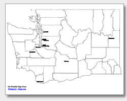 printable Washington major cities map labeled
