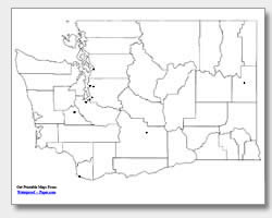 printable Washington major cities map unlabeled