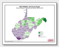printable West Virginia population change map