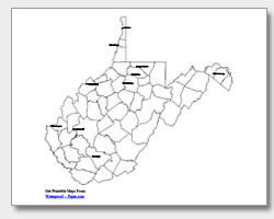 printable West Virginia major cities map labeled